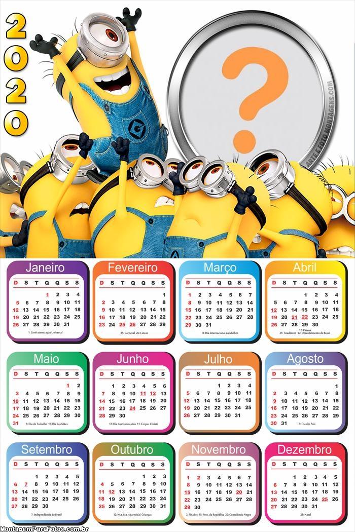 Calendário 2020 Minions para Imprimir