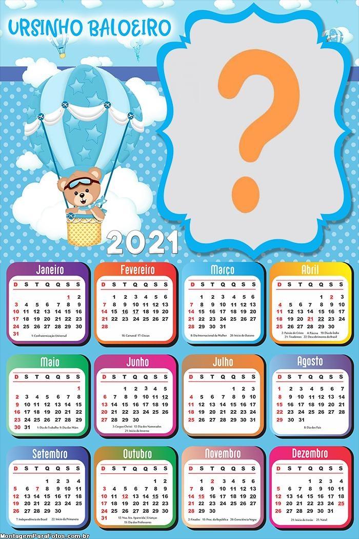 Emoldurar Online Calendário 2021 Ursinho Baloeiro 2