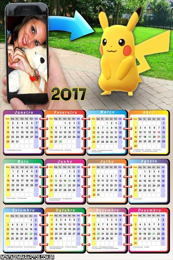 Calendário 2017 Pokémon Go Capturando Pikachu