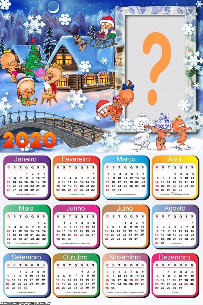Calendário 2020 Natal Baby Foto Colagem