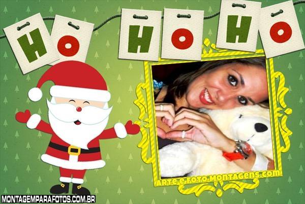 Boneco Papai Noel Ho Ho Ho FotoMoldura