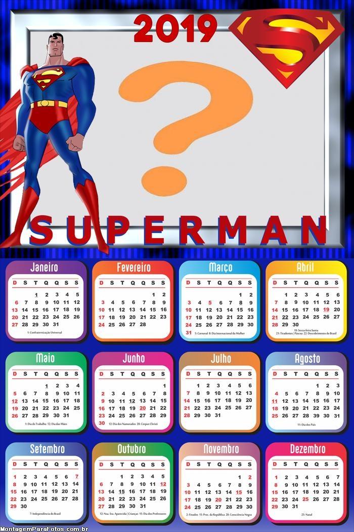 Calendário 2019 SuperMan Desenho
