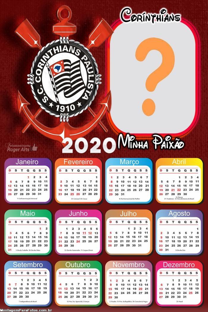 Calendário 2020 Minha Paixão Corinthians Moldura