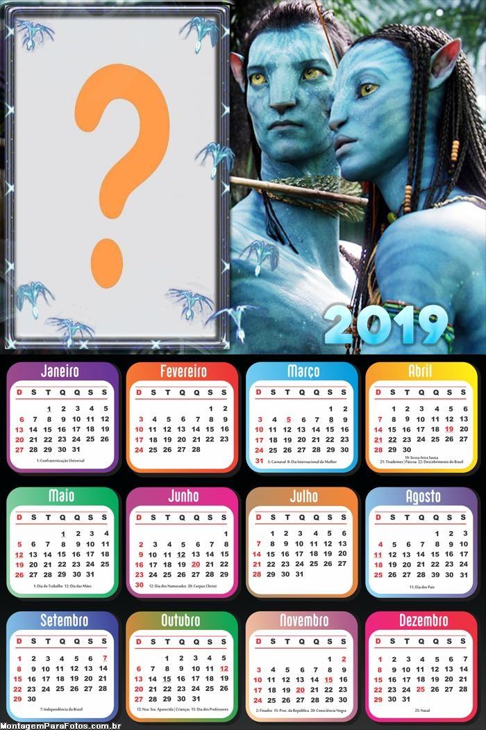 Calendário 2019 do Avatar Personagens