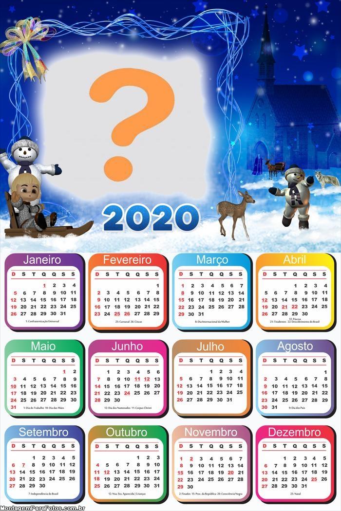Calendário 2020 Boneco de Neve Natal