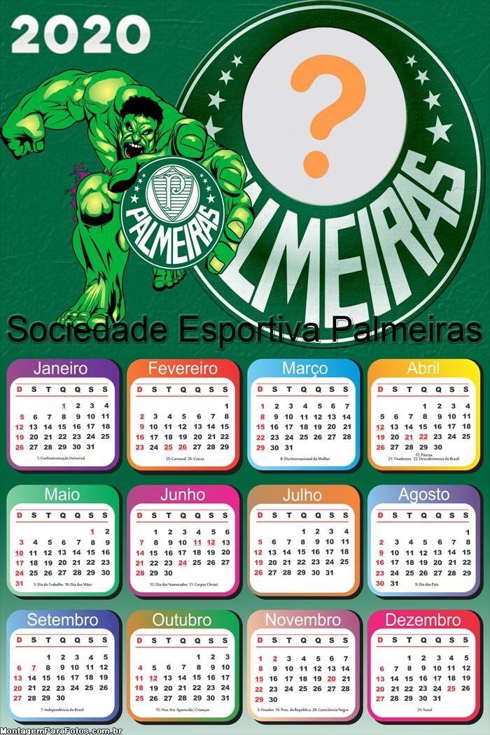 Calendário 2020 Palmeiras Huck Foto Moldura