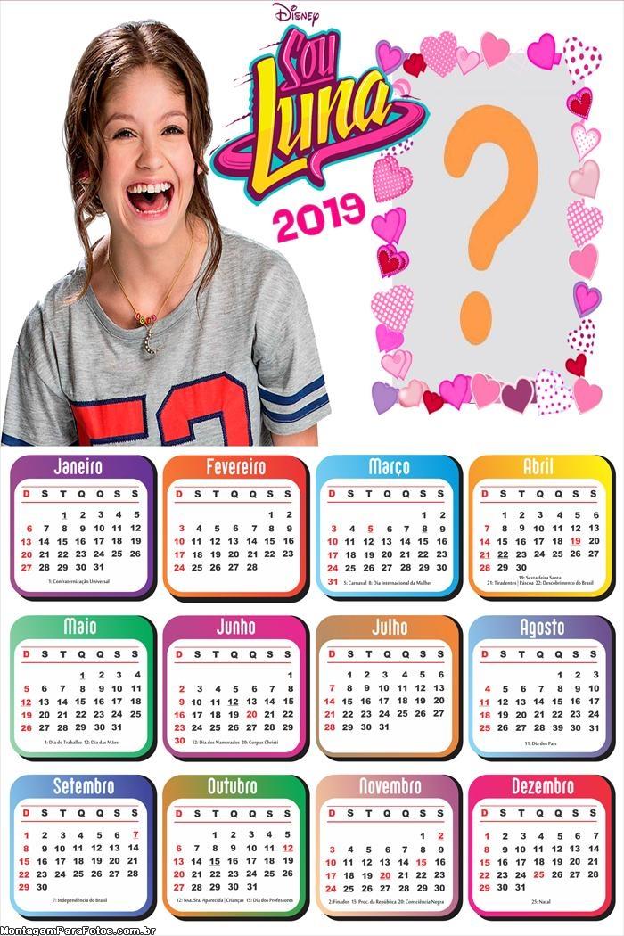 Calendário 2019 da Sou Luna