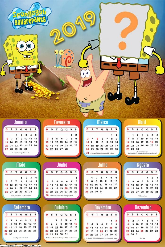 Calendário 2019 Bob Esponja e Patrick