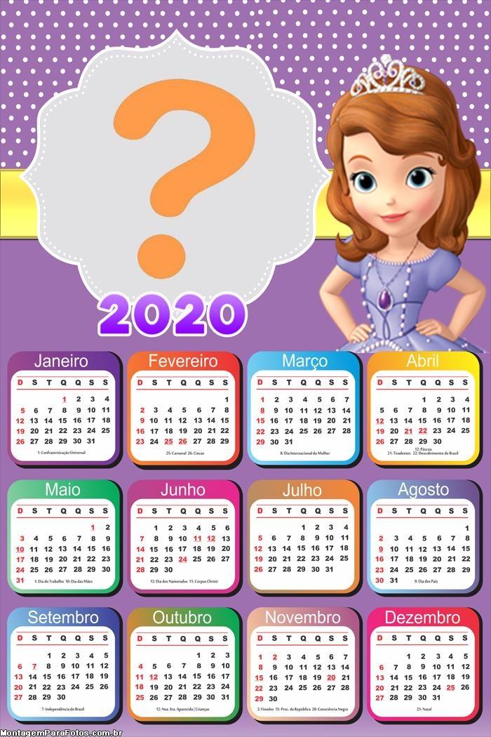 Calendário 2020 Montar Foto Online Princesa Sofia