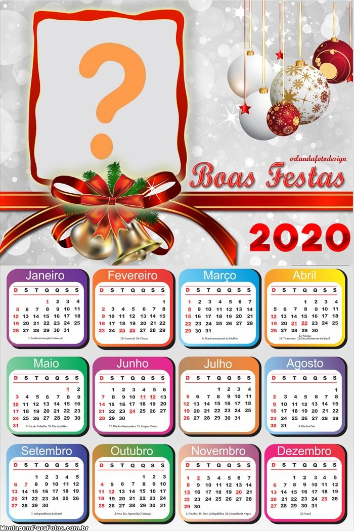 Calendário 2020 Boas Festas Foto Moldura