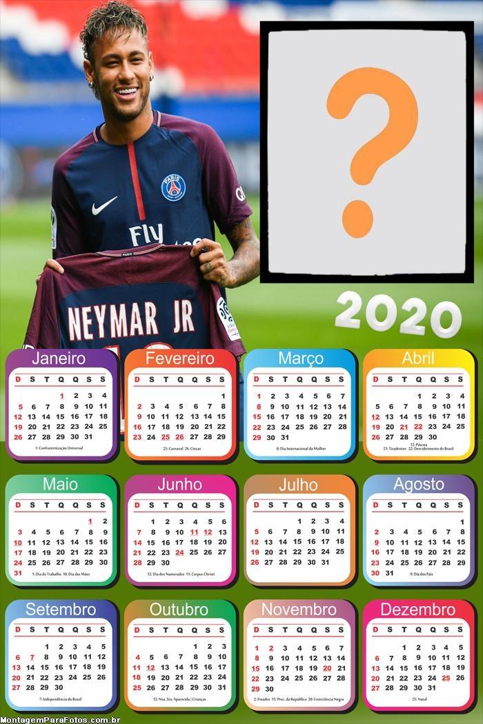 Calendário 2020 Neymar Moldura de Foto