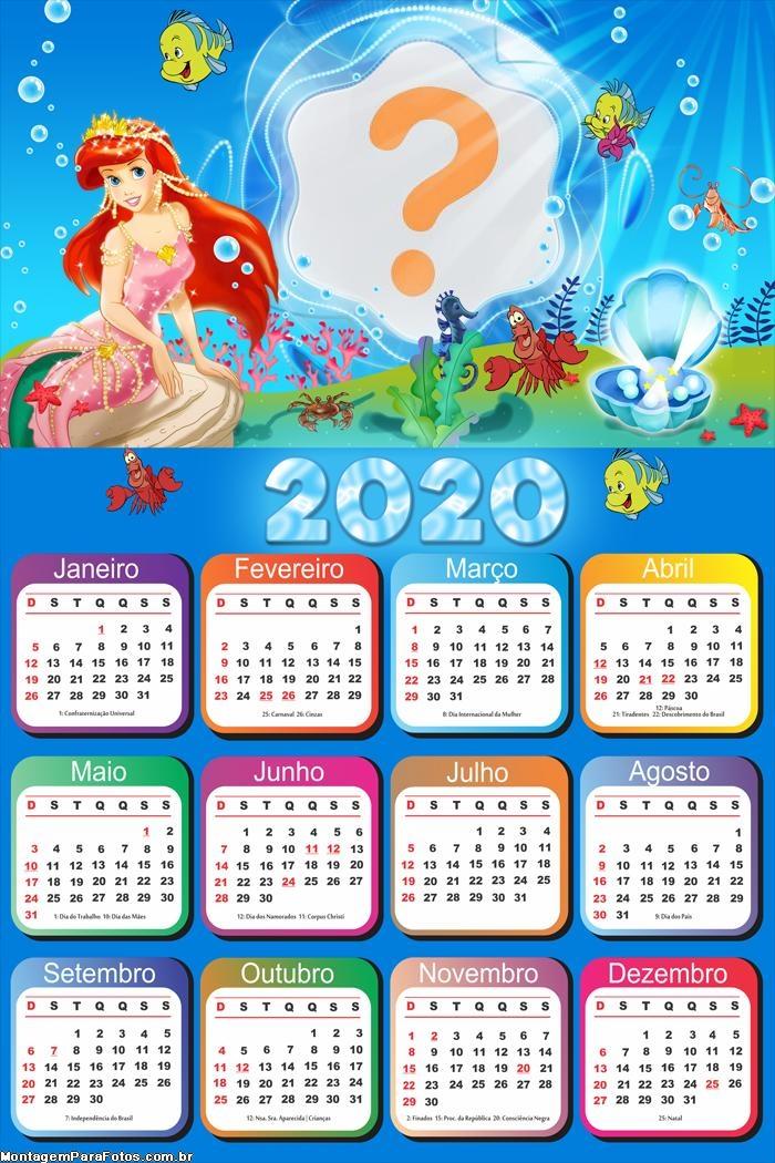 Calendário 2020 Ariel Foto Moldura Digital