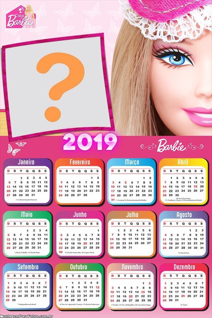 Calendário 2019 Barbie Rosto de Boneca