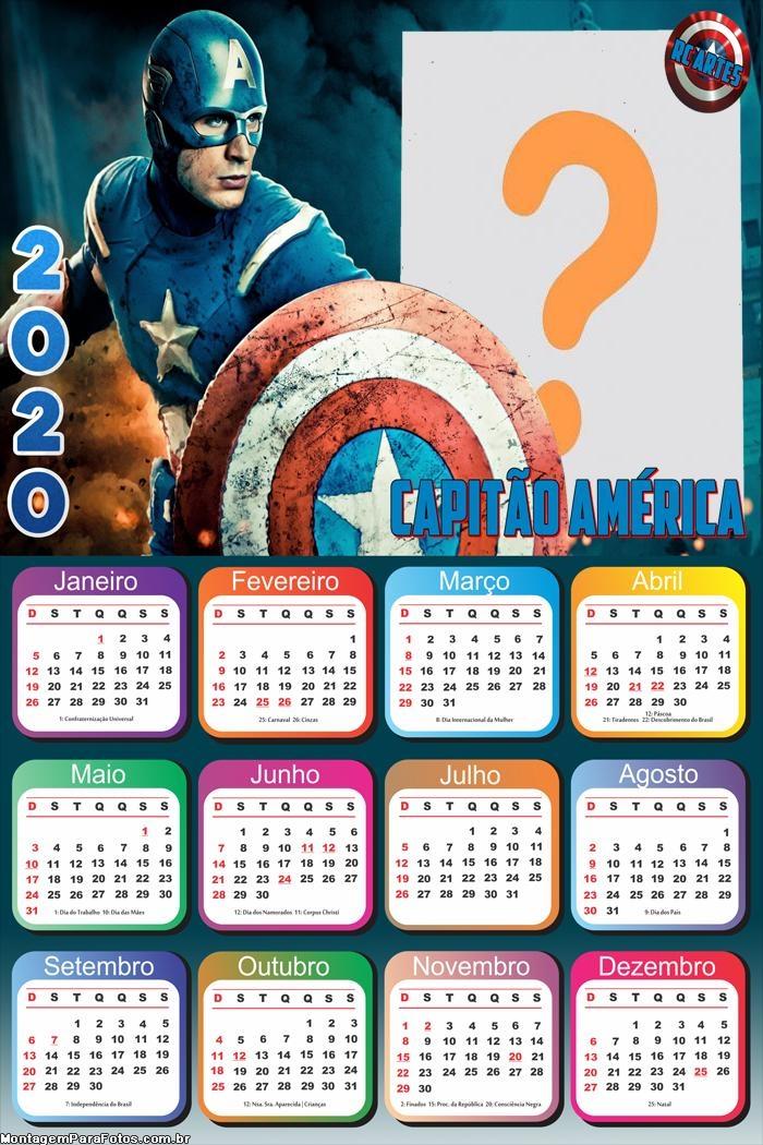 Calendário 2020 Capitão América