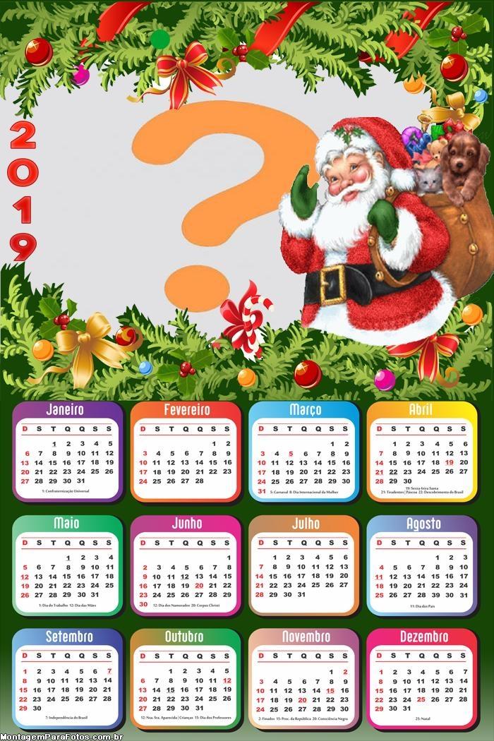 Calendário 2019 Papai Noel Saco de Brinquedos