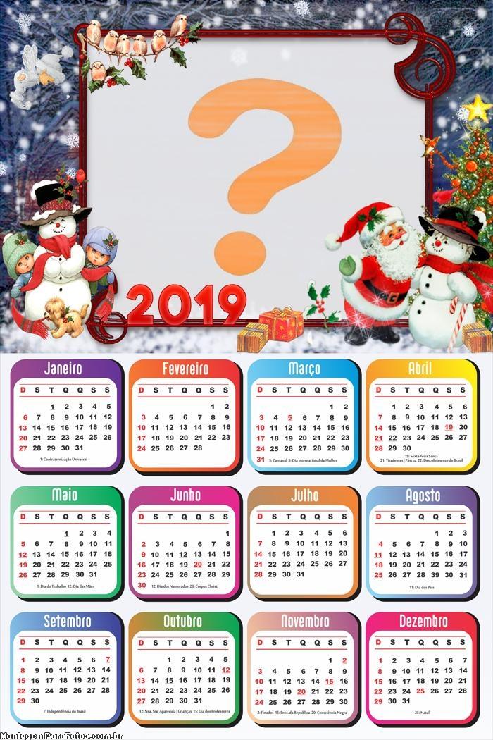 Calendário 2019 Papai Noel e Bonecos de Neve