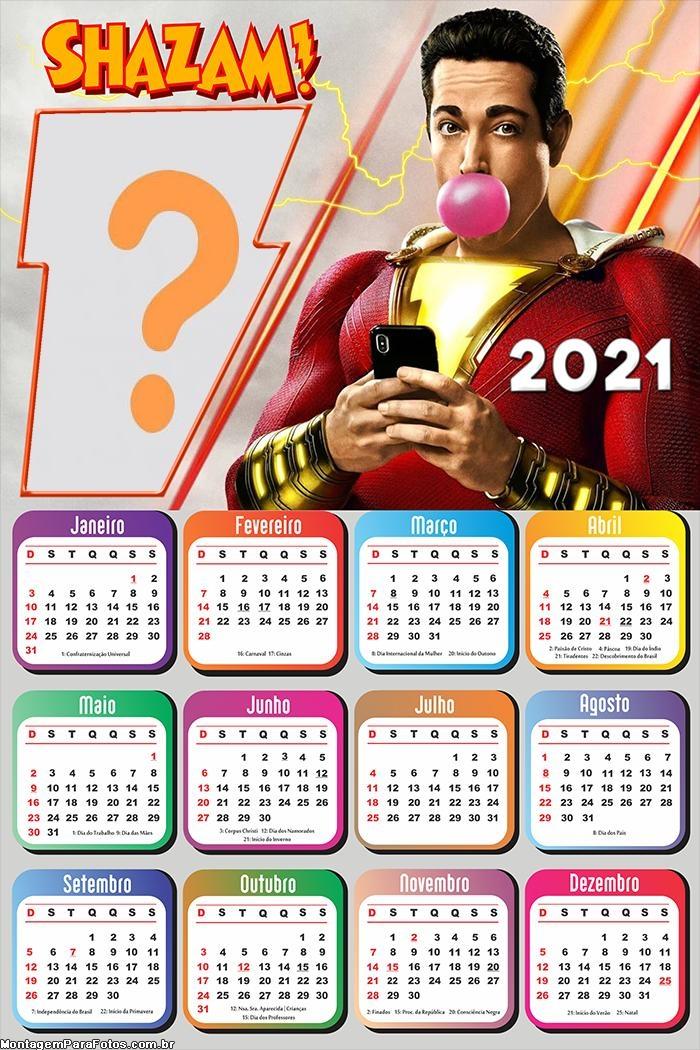 Calendário 2021 Shazam Foto Montagem
