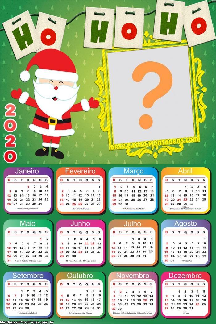 Calendário 2020 Moldura Infantil Papei Noel
