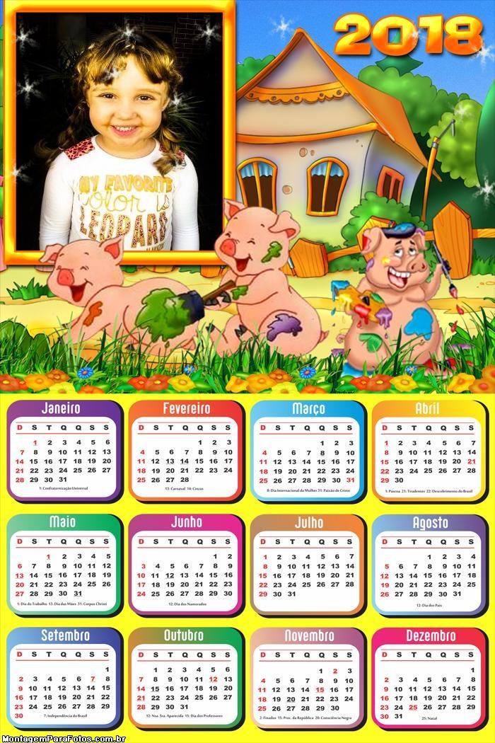 Calendário 2018 Os Três Porquinhos