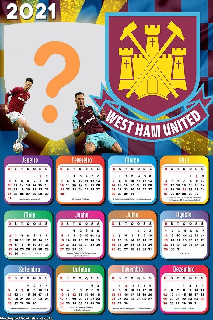 Calendário 2021 West Ham United Time de Futebol