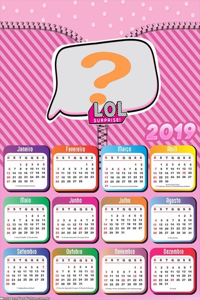 Calendário 2019 da LOL Boneca