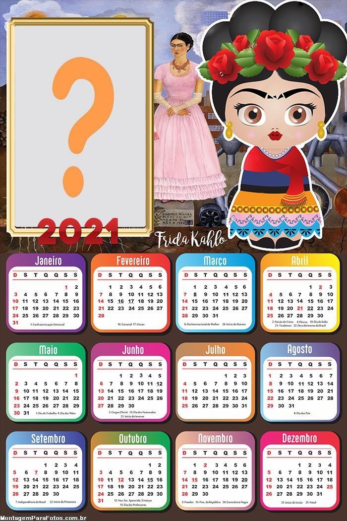 Calendário 2021 Frida Kahlo Montagem
