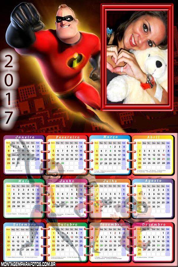 Calendário 2017 Senhor Incrível