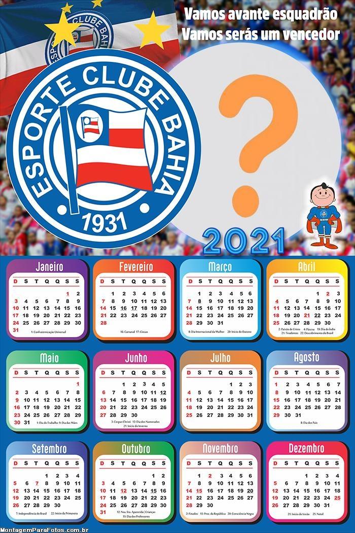 Calendário 2021 Bahia Futebol Foto Montagem