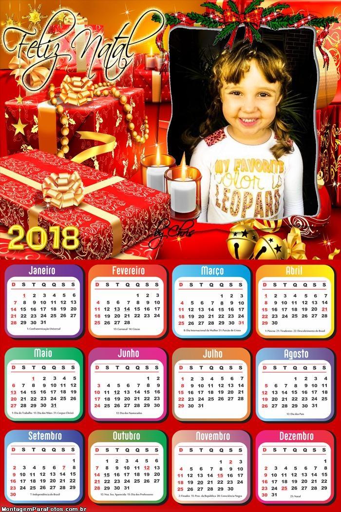 Calendário 2018 Presentes de Natal