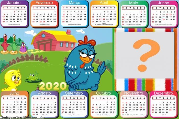 Calendário 2020 Galinha Pintadinha Horizontal