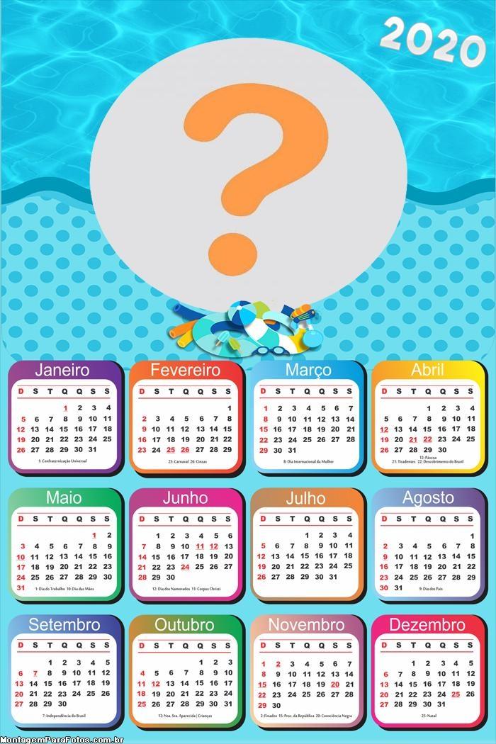 Calendário 2020 Infantil de Praia
