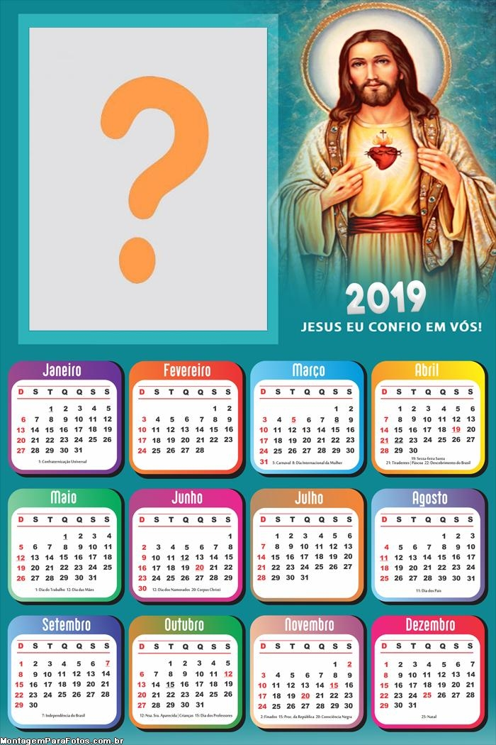 Calendário 2019 Jesus Eu Confio