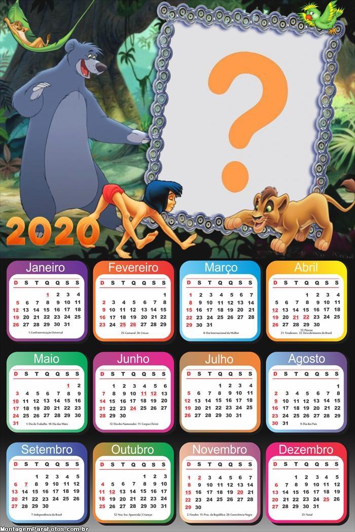 Calendário 2020 Tarzan Desenho Foto Montagem Grátis