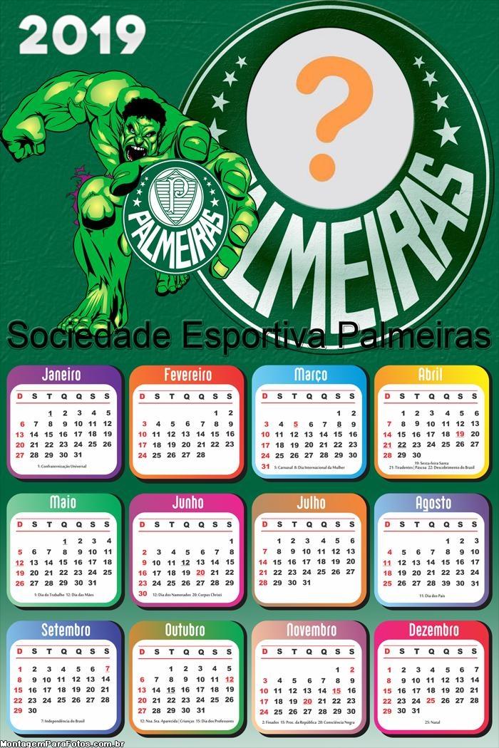 Calendário 2019 Palmeiras Hulk