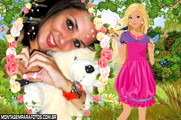 Barbie na Floresta e Animais Moldura