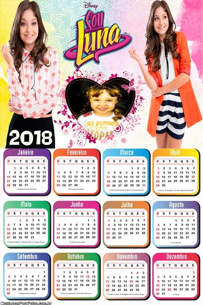 Calendário 2018 Sou Luna Coração