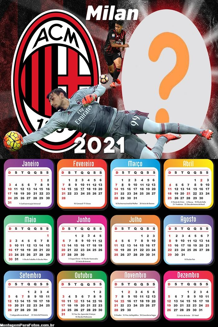 Calendário 2021 Milan Time de Futebol