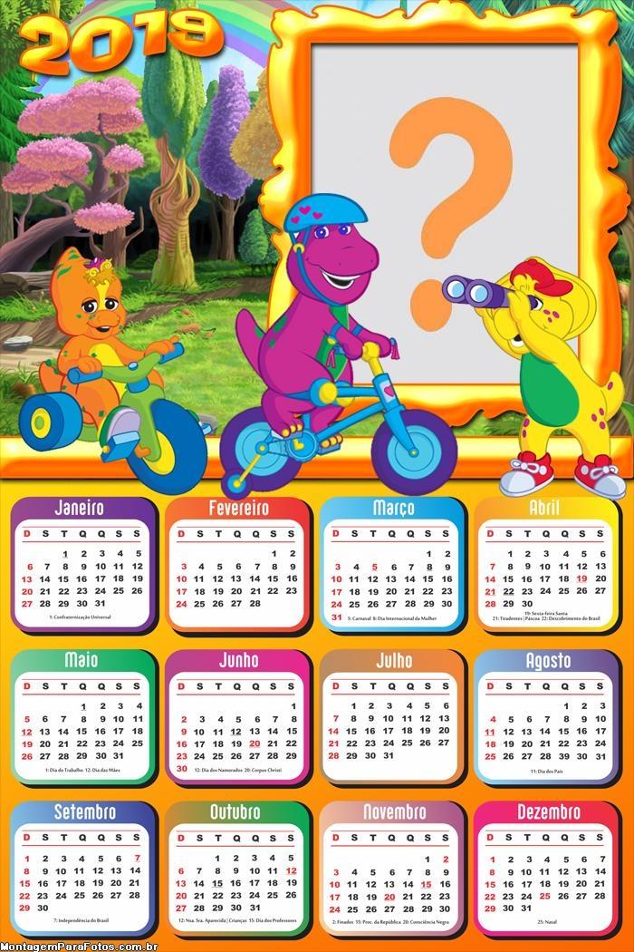 Calendário 2019 Barney Bicicleta