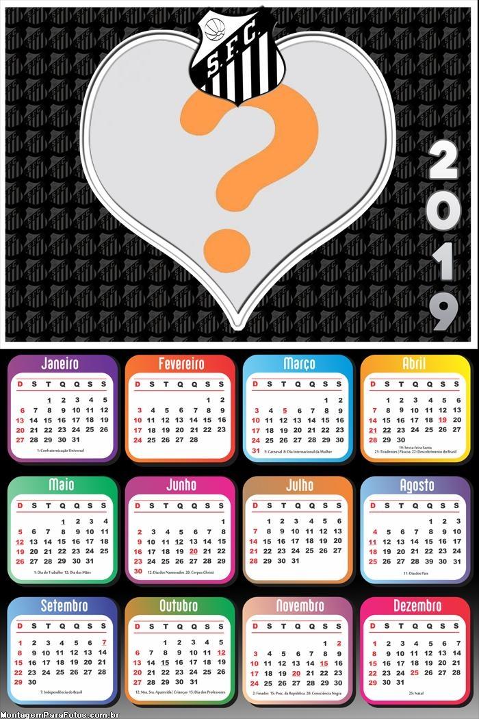 Calendário 2019 Santos Coração