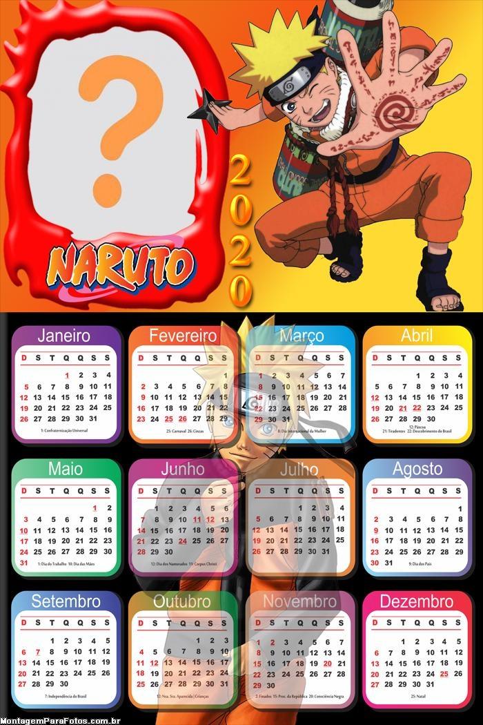 Calendário 2020 Naruto Foto Montagem