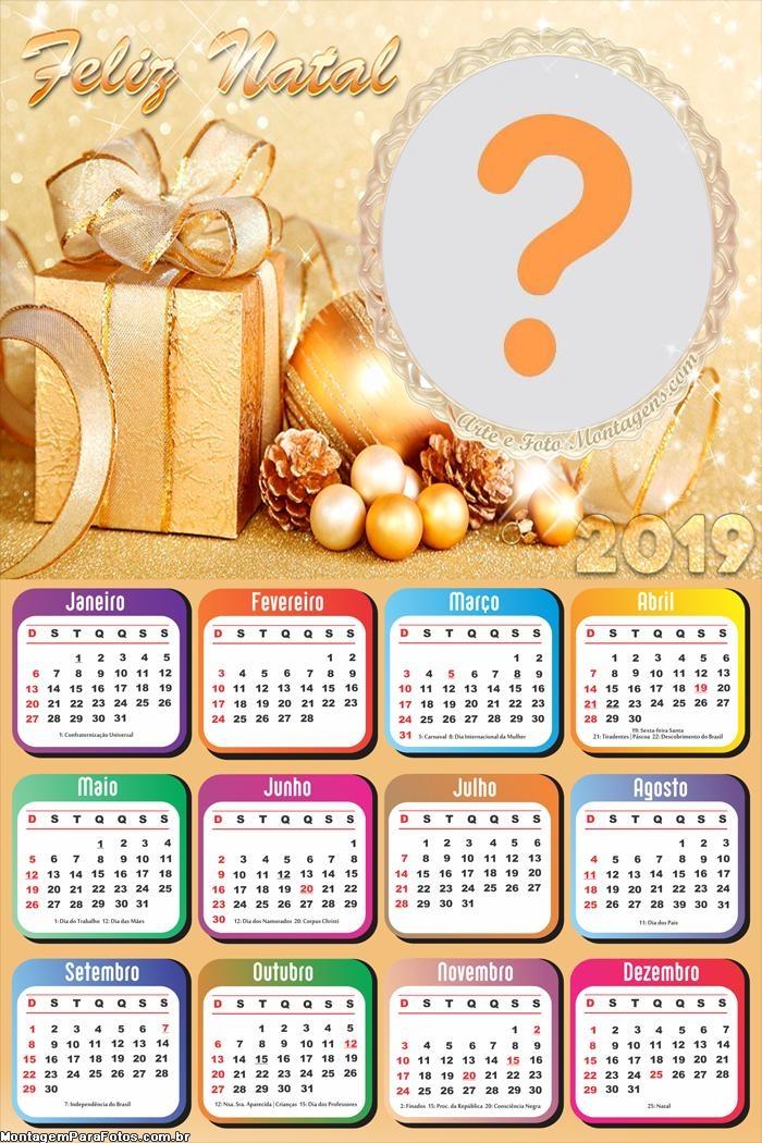 Calendário 2019 Feliz Natal Dourado