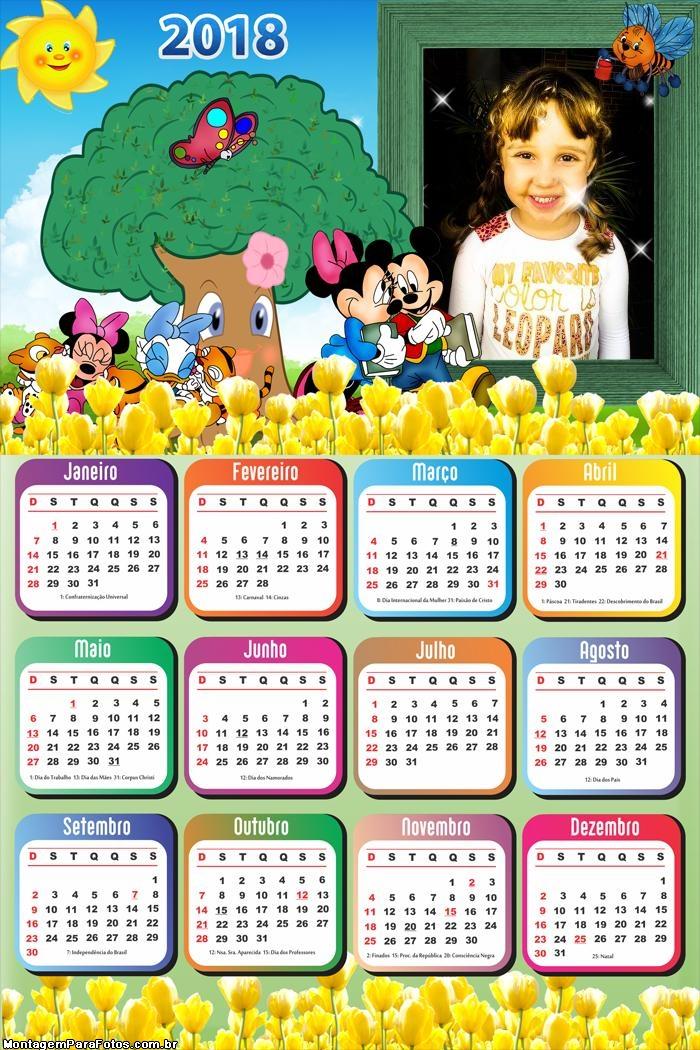 Calendário 2018 Jardim Mickey e Minnie