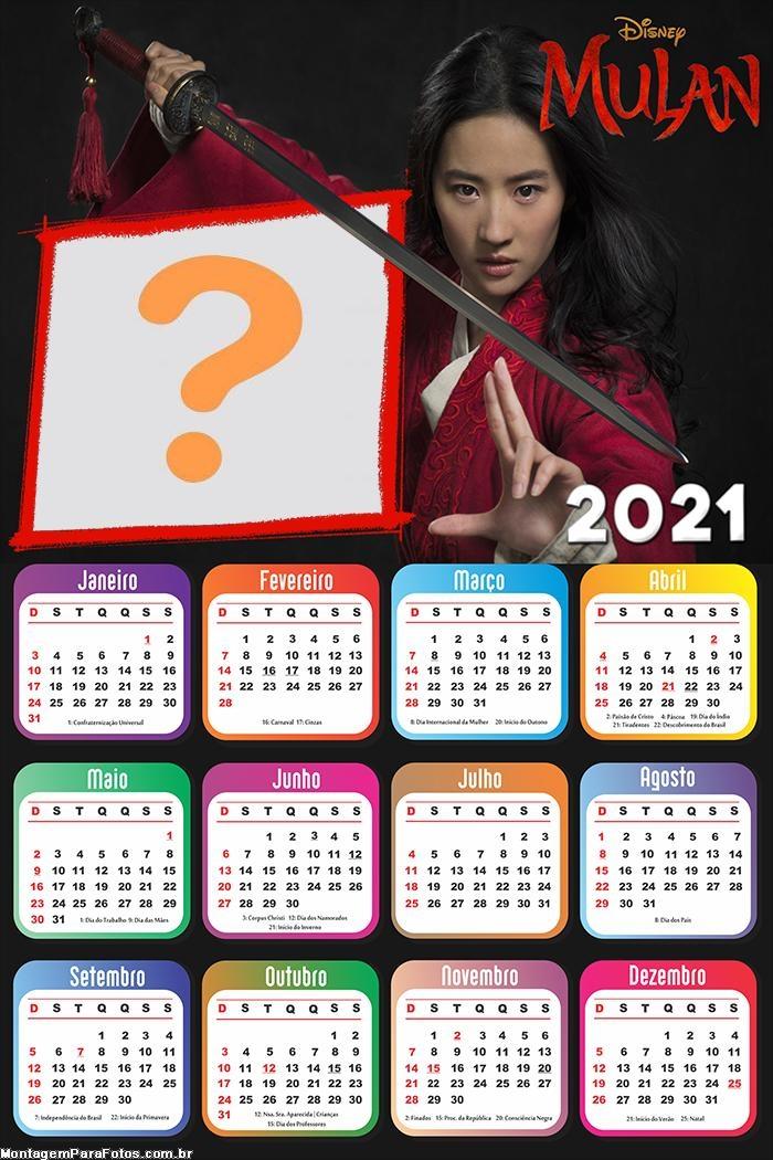 Calendário 2021 Mulan Foto Moldura Digital