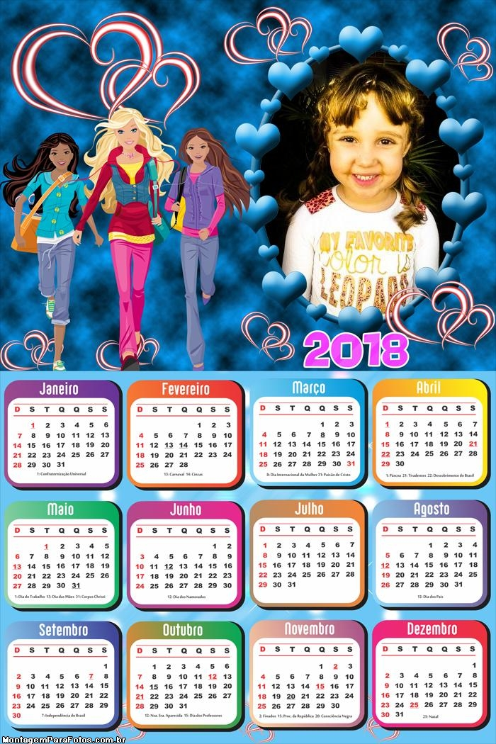 Calendário 2018 Barbie Desenho Jovem