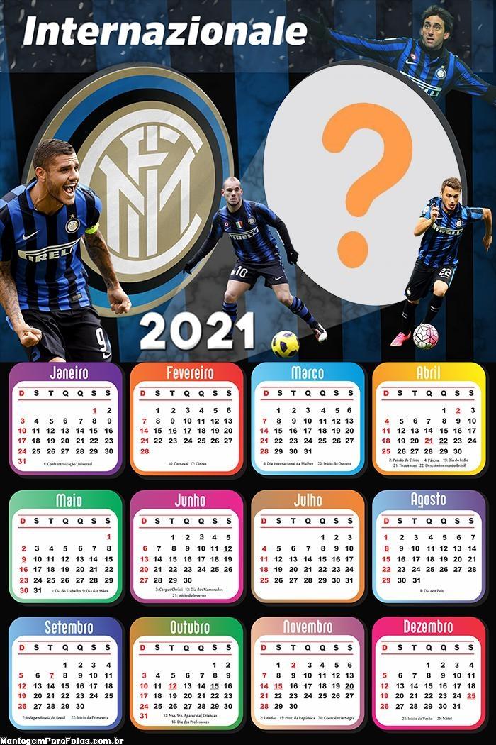 Calendário 2021 Inter de Milão Time de Futebol