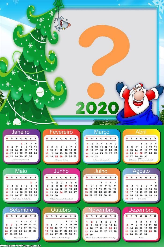 Calendário 2020 Papai Noel Feliz Foto Colagem