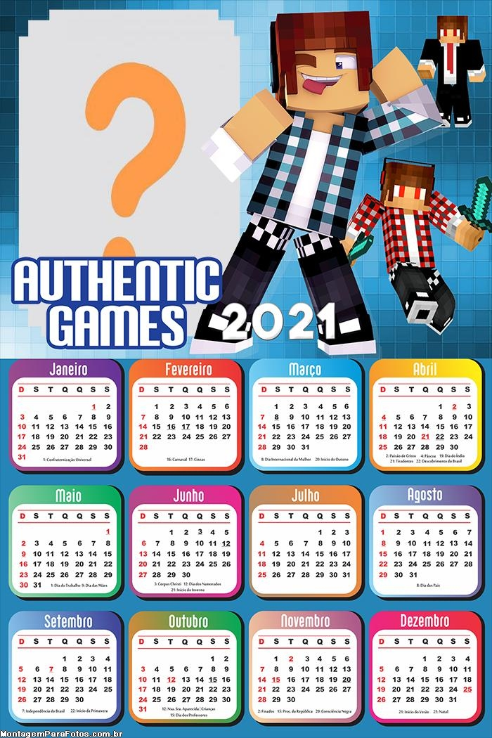 Calendário 2021 Authentic Games