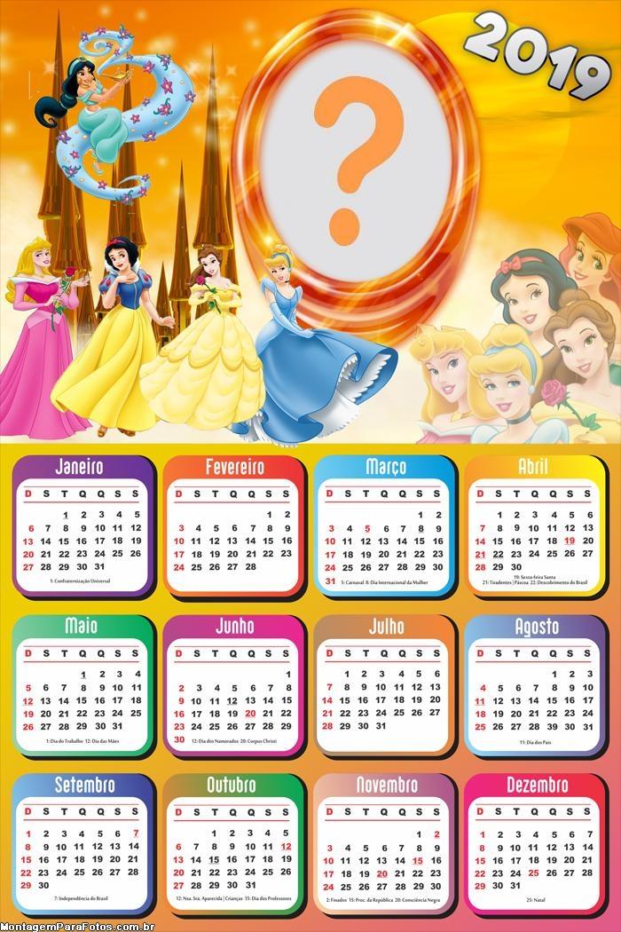 Calendário 2019 Princesas Lindas