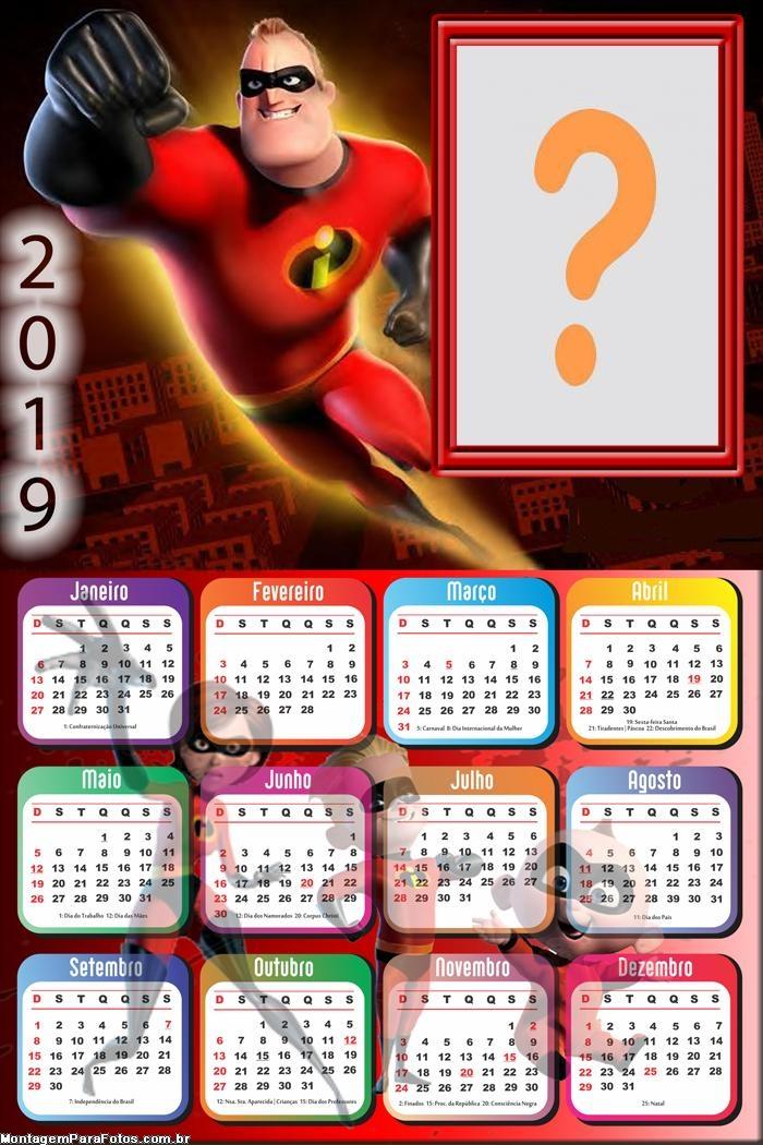Calendário 2019 Senhor Incrível
