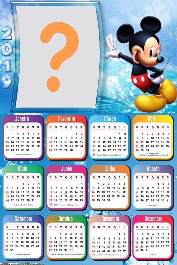 Calendário 2019 do Mickey